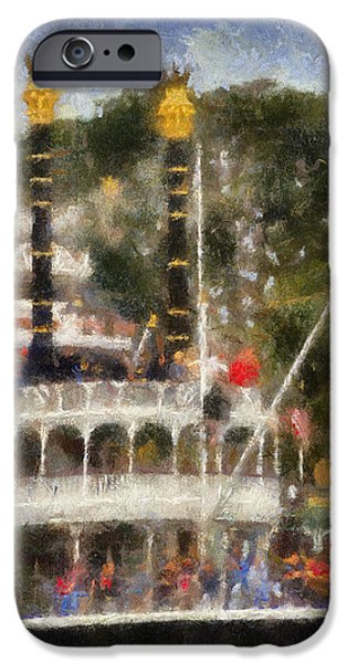 Beauty Mark iPhone Cases - Mark Twain Riverboat Frontierland Disneyland Vertical Photo Art 02 iPhone Case by Thomas Woolworth