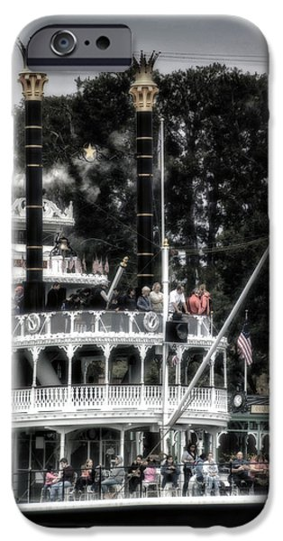Beauty Mark iPhone Cases - Mark Twain Riverboat Frontierland Disneyland Vertical SC iPhone Case by Thomas Woolworth