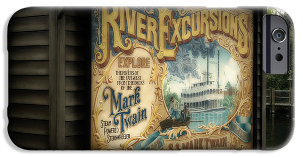 Beauty Mark iPhone Cases - Mark Twain Riverboat Signage Frontierland Disneyland iPhone Case by Thomas Woolworth