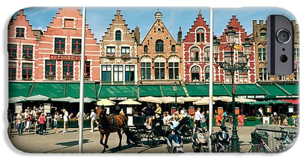 Flemish iPhone Cases - Market At A Town Square, Bruges, West iPhone Case by Panoramic Images