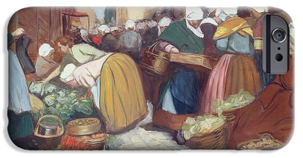Vendor iPhone Cases - Market in Brest iPhone Case by Fernand Piet