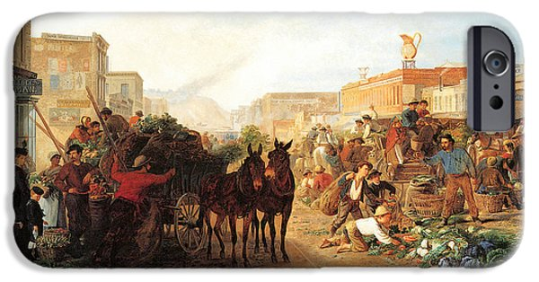 Horse And Buggy iPhone Cases - Market Scene Sansome Street San Francisco iPhone Case by William Hahn