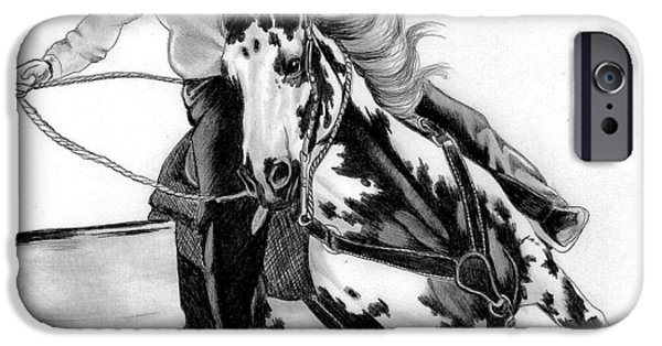 Drawing Of A Horse iPhone Cases - Marking Time iPhone Case by Cheryl Poland