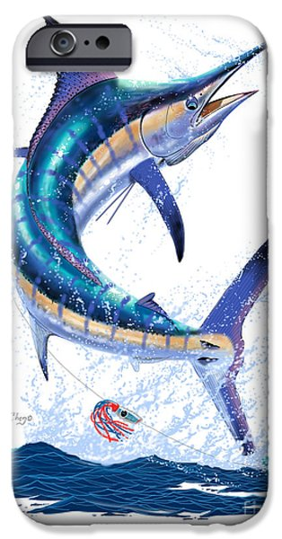 Shark Digital iPhone Cases - Marlin leap iPhone Case by Carey Chen
