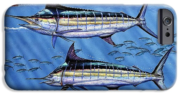 Marlin Azul iPhone Cases - Marlins Twins iPhone Case by Terry Fox
