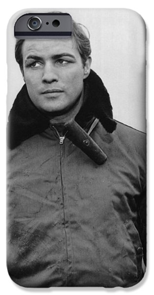 1950s Portraits iPhone Cases - Marlon Brando in On the Waterfront iPhone Case by Nomad Art And  Design