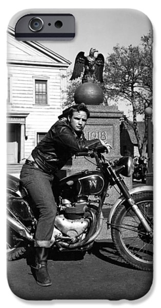 1950s Movies iPhone Cases - Marlon Brando in The Wild One iPhone Case by Nomad Art And  Design