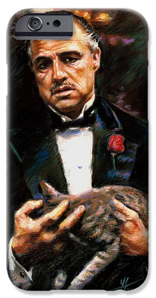 Movie Star Drawings iPhone Cases - Marlon Brando The Godfather iPhone Case by Viola El