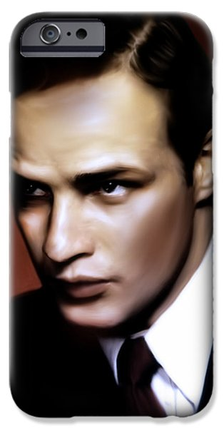 Young Digital Art iPhone Cases - Marlon Brando Tribute iPhone Case by Georgiana Romanovna