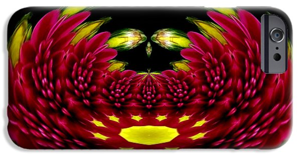 Abstract Rose Oval iPhone Cases - Maroon and Yellow Chrysanthemums Polar Coordinates Effect iPhone Case by Rose Santuci-Sofranko