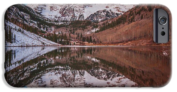 Darren iPhone Cases - Maroon Bells Alpenglow iPhone Case by Darren  White