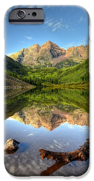 National Preserves iPhone Cases - Maroon Bells and Maroon Lake iPhone Case by Ken Smith