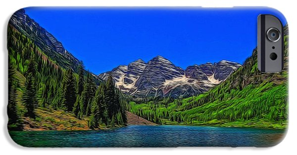 Creek Mixed Media iPhone Cases - Maroon Bells Colorado In Summer iPhone Case by Dan Sproul