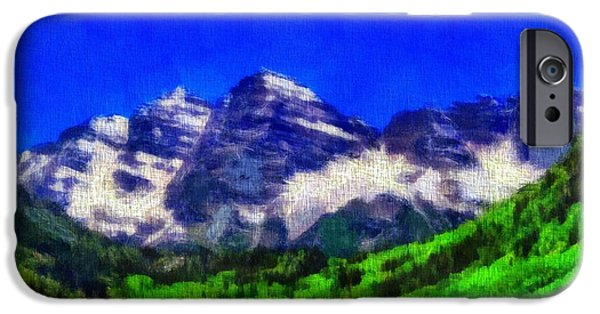 Pines Mixed Media iPhone Cases - Maroon Bells Colorado Peaks On Canvas iPhone Case by Dan Sproul
