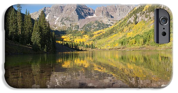 White River iPhone Cases - Maroon Bells in Autumn iPhone Case by Juli Scalzi