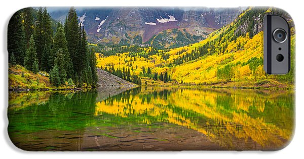 Reflective iPhone Cases - Maroon Bells Reflection iPhone Case by Inge Johnsson
