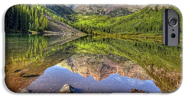 National Preserves iPhone Cases - Maroon Bells Reflections iPhone Case by Ken Smith