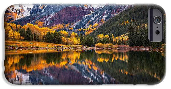 Snow iPhone Cases - Maroon Lake Backside iPhone Case by Darren  White