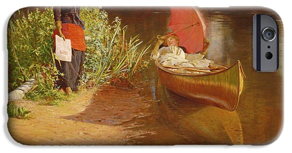 Red Canoe iPhone Cases - Marooned iPhone Case by Edward John Gregory