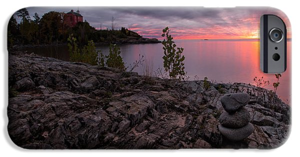 Lakescape iPhone Cases - Marquette Harbor Lighthouse iPhone Case by Todd Bielby