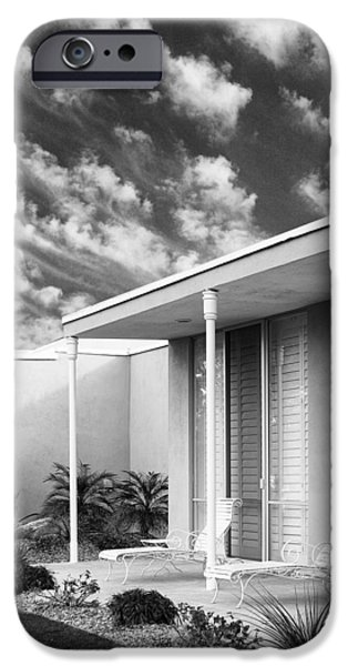 Slider Photographs iPhone Cases - MARRAKESH LOUNGE BW Palm Springs iPhone Case by William Dey