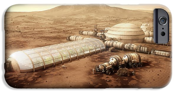 Mars iPhone Cases - Mars Settlement with Farm iPhone Case by Bryan Versteeg
