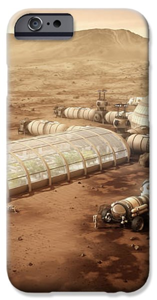 Mars Settlement with Farm iPhone Case by Bryan Versteeg