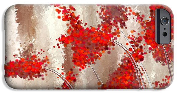 Red Wine iPhone Cases - Marsala Abstract iPhone Case by Lourry Legarde