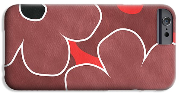 Floral Mixed Media iPhone Cases - Marsala and Red Flowers- bold floral art iPhone Case by Linda Woods