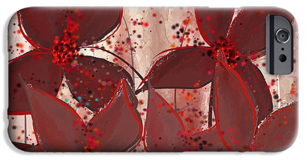Red Wine iPhone Cases - Marsala Floral iPhone Case by Lourry Legarde