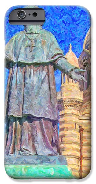 Marseille Cathedral Painting iPhone Case by Antony McAulay