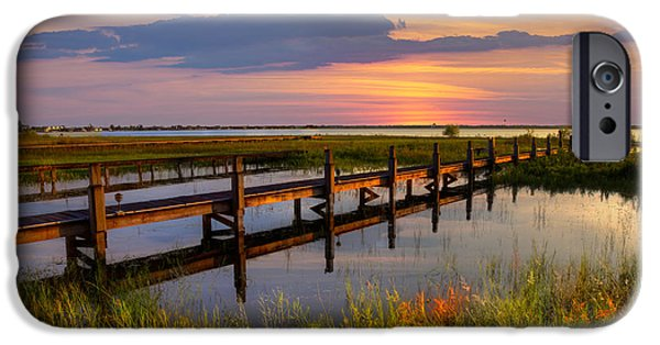 Fl iPhone Cases - Marsh Harbor iPhone Case by Debra and Dave Vanderlaan