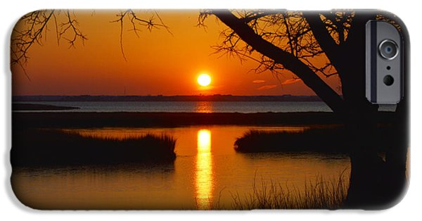 Unset iPhone Cases - Ocean City Sunset at Old Landing Road iPhone Case by Bill Swartwout