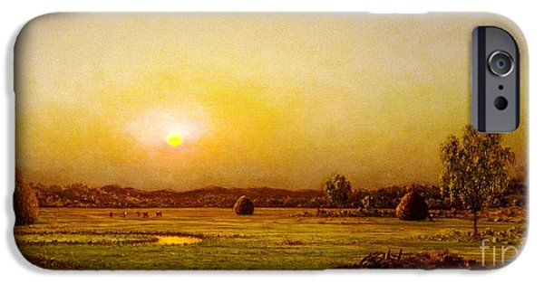 1876 Paintings iPhone Cases - Marsh Sunset  Newburyport iPhone Case by Pg Reproductions