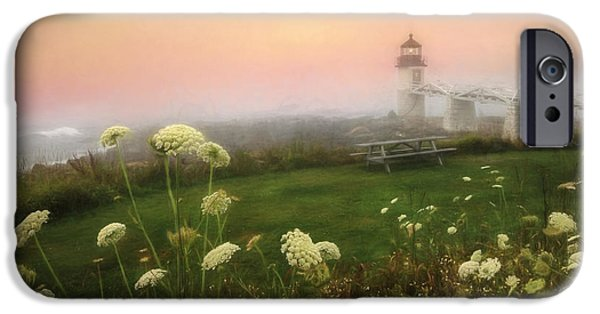 New England Lighthouse iPhone Cases - Marshall Point at Sunrise iPhone Case by Lori Deiter