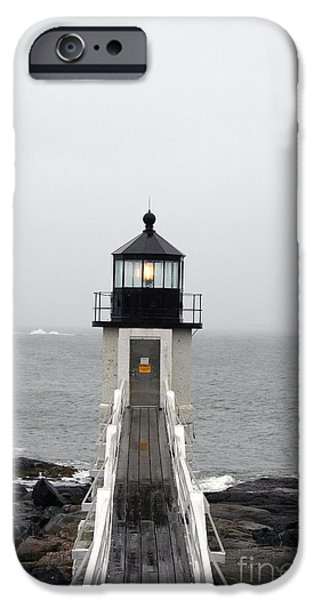 Rainy Day iPhone Cases - Marshall Point Light On A Foggy Day iPhone Case by Christiane Schulze Art And Photography