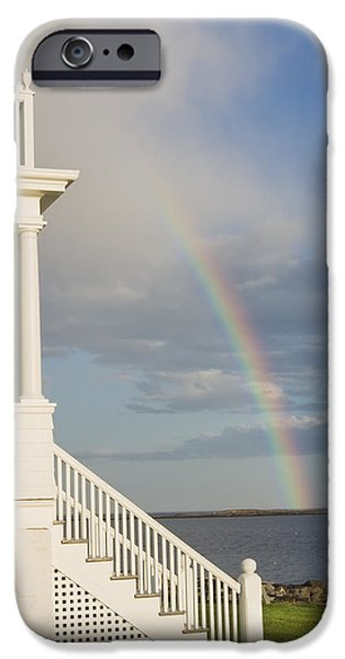 New England Lighthouse iPhone Cases - Marshall Point Lighthouse And Rainbow in Maine iPhone Case by Keith Webber Jr