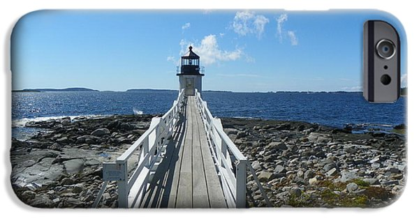 Midcoast iPhone Cases - Marshall Point Lighthouse from shoreline iPhone Case by Joseph Rennie