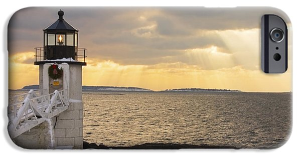 Winter Weather iPhone Cases - Marshall Point Lighthouse In Winter Maine  iPhone Case by Keith Webber Jr