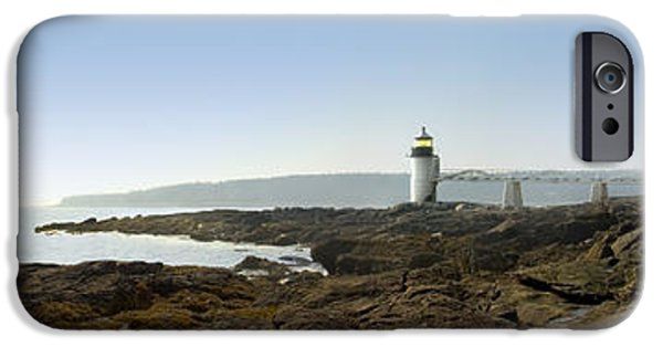 Lighthouse iPhone Cases - Marshall Point Lighthouse - Panoramic iPhone Case by Mike McGlothlen