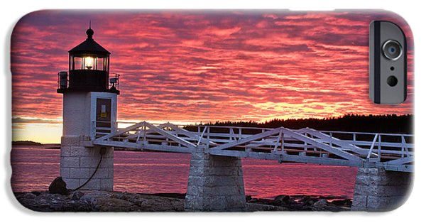 New England Lighthouse iPhone Cases - Marshall Point Sunset iPhone Case by Benjamin Williamson