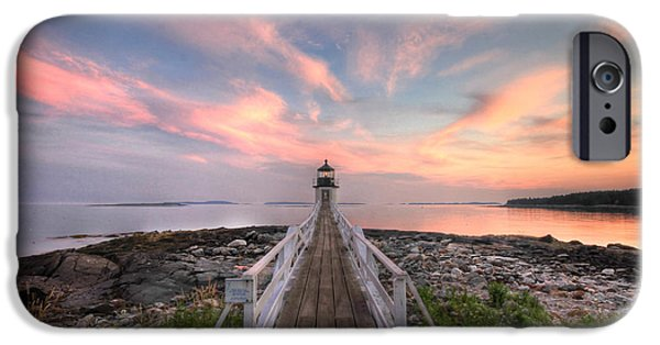 Lighthouse iPhone Cases - Marshall Point Sunset iPhone Case by Lori Deiter