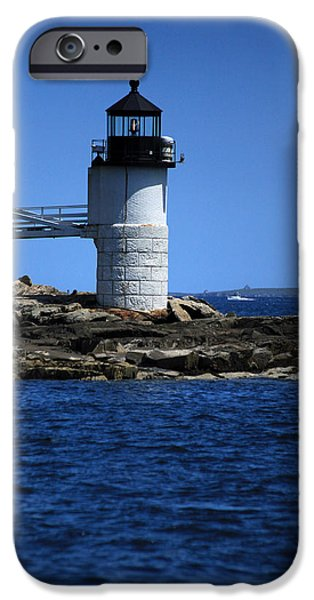 New England Lighthouse iPhone Cases - Marshall Point Surrounded by Blue iPhone Case by Karol  Livote