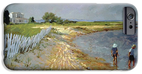 Summer iPhone Cases - Marthas Vineyard Oil On Canvas iPhone Case by Sarah Butterfield
