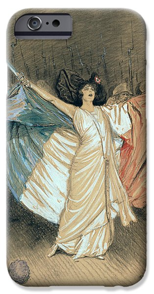 First Lady Portrait Drawings iPhone Cases - Marthe Chenal Singing La Marseillaise iPhone Case by Georges Bertin Scott