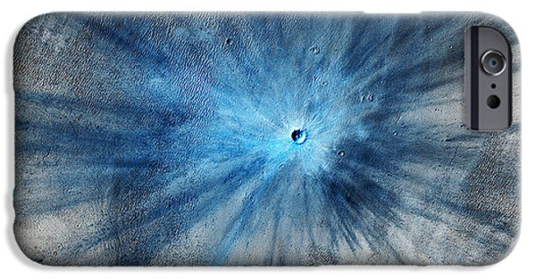 Galactic Paintings iPhone Cases - Martian Impact Crater in Mars iPhone Case by Celestial Images