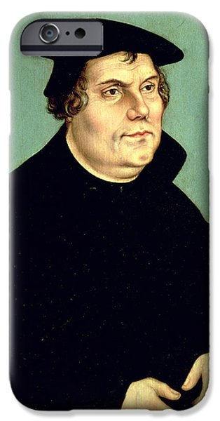Reformer iPhone Cases - Martin Luther 1483-1546 Oil On Panel iPhone Case by Lucas, the Elder Cranach