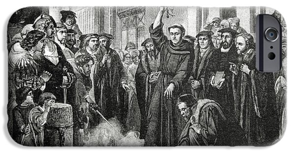 Pope iPhone Cases - Martin Luther 1483 1546 Publicly Burning the Popes Bull in 1521  iPhone Case by English School