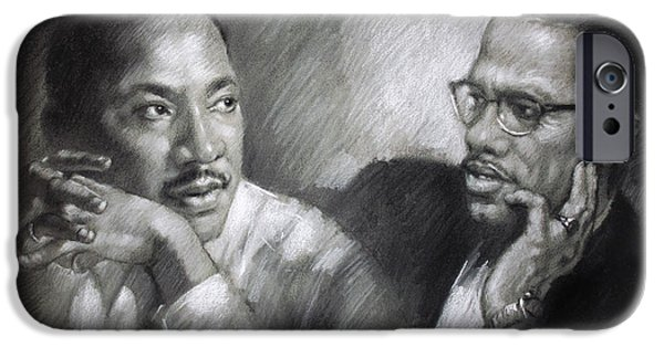 African-american Pastels iPhone Cases - Martin Luther King Jr and Malcolm X iPhone Case by Ylli Haruni