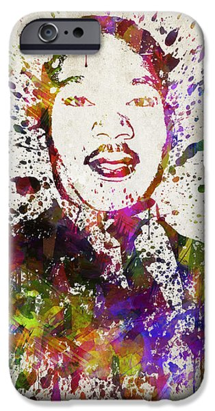 Activist iPhone Cases - Martin Luther King Jr in Color iPhone Case by Aged Pixel